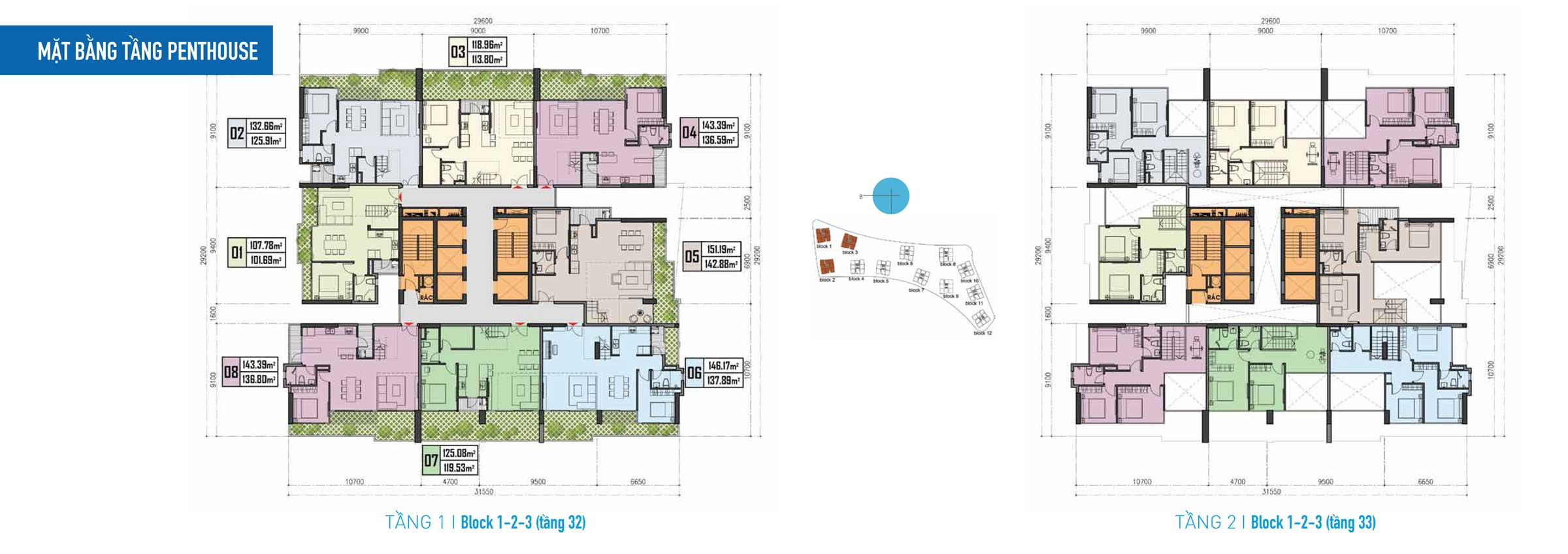 Thiết kế Căn hộ Gem Riverside - Mặt bằng tầng 32 penthouse-Block-123