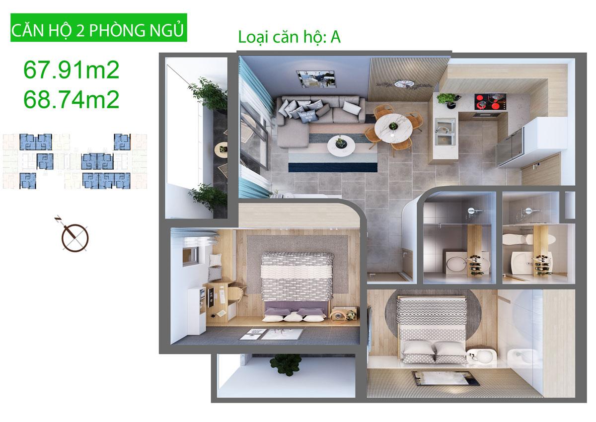 Căn hộ Aurora Residence 2 phòng ngủ 67m2