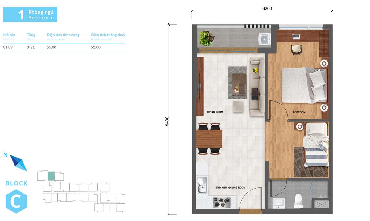 Thiết kế căn hộ Safira khang điền loại 1 phòng ngủ