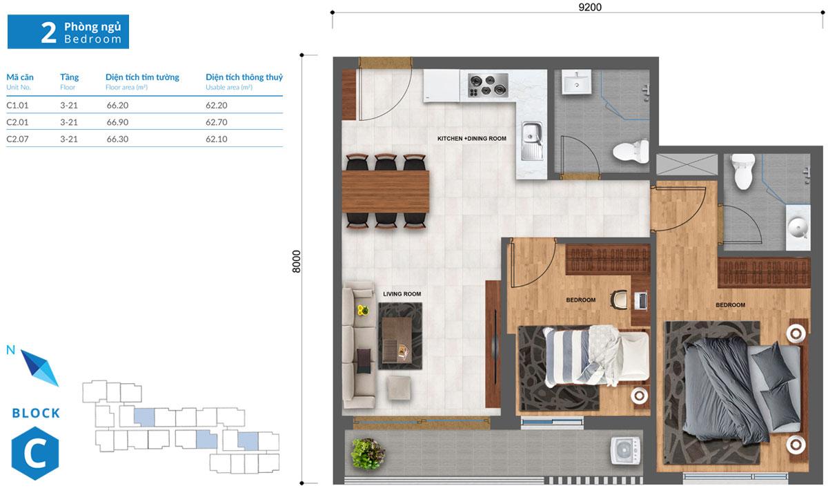 Thiết kế căn hộ Safira khang điền loại 2 phòng ngủ tầng 3-21