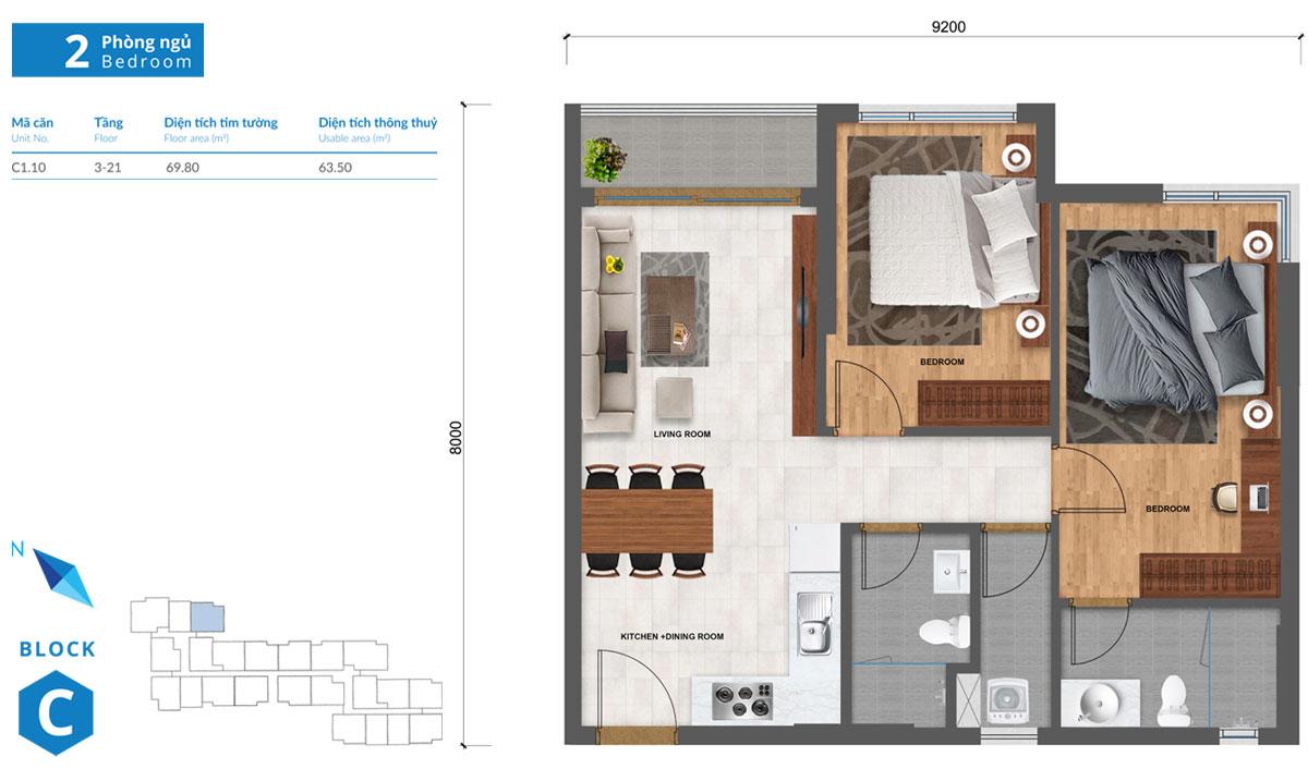Thiết kế căn hộ Safira khang điền loại 2 phòng ngủ