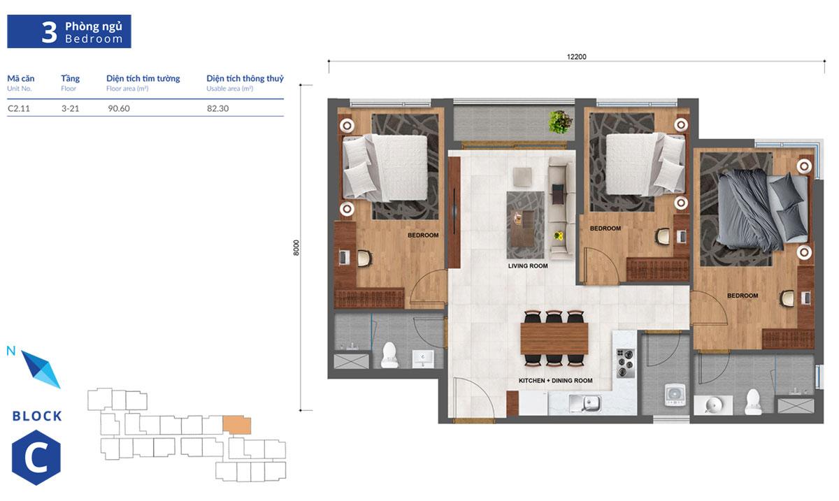 Thiết kế căn hộ Safira khang điền loại 3 phòng ngủ diện tích 90m2