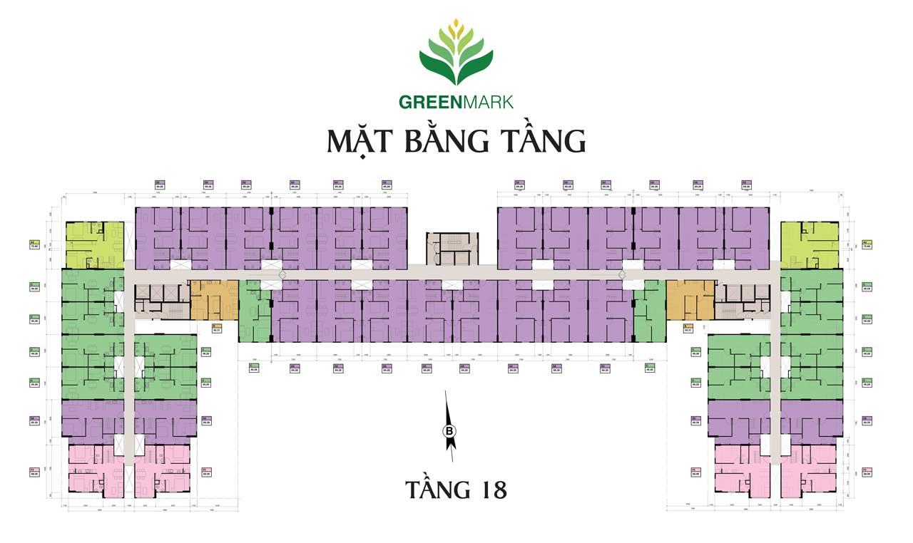 Mặt bằng tầng căn hộ Green Mark Quận 12 - Tầng 18