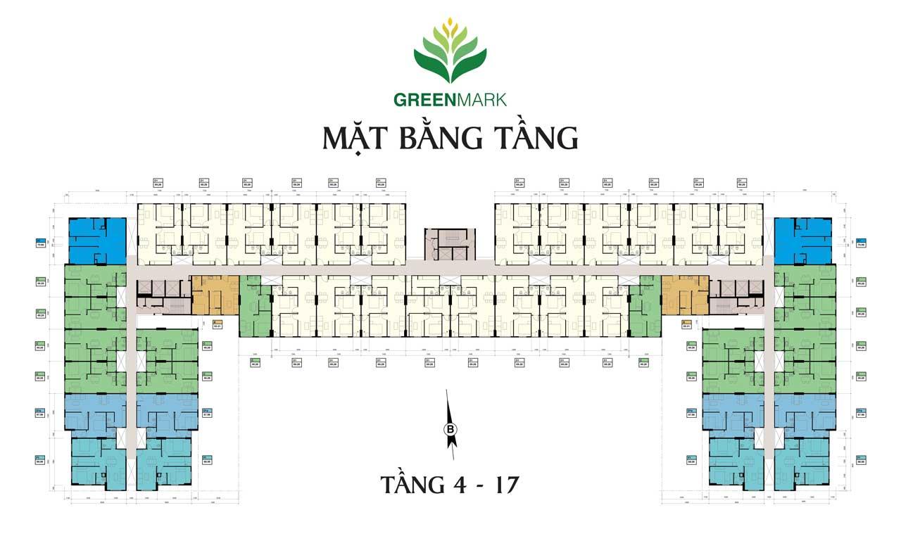 Mặt bằng tầng căn hộ Green Mark Quận 12 - Tầng 4-17