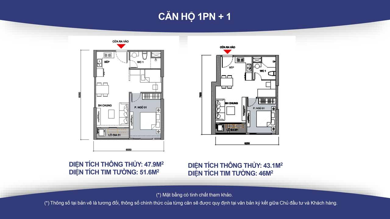 Thiết kế căn hộ vincity quận 9 -loại 1 phòng ngủ
