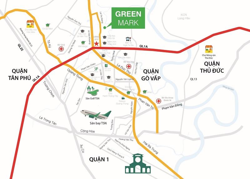 Vị trí dự án Green Mark Quận 12