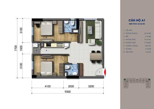 Thiết kế căn hộ Green Mark Loại A1 64m2
