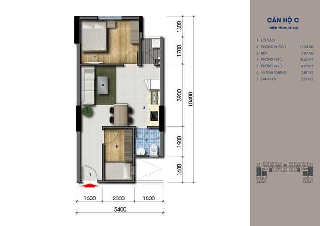 Thiết kế căn hộ Green Mark Loại C 46m2