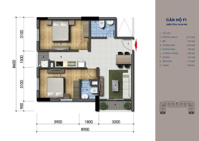 Thiết kế căn hộ Green Mark Loại F1 64m2