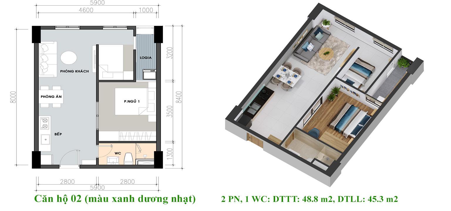 Thiết kế căn hộ Pi City Quận 12 loại 48m2