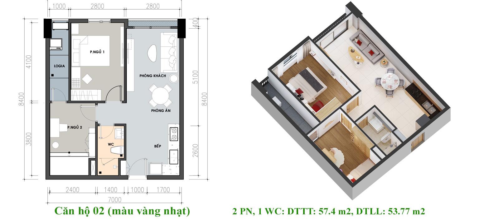 Thiết kế căn hộ Pi City Quận 12 loại 57m2