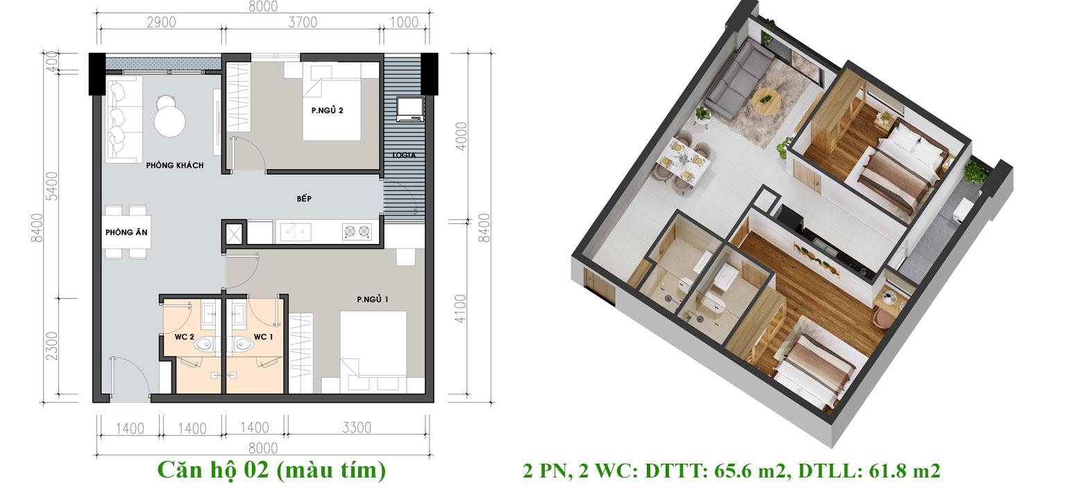 Thiết kế căn hộ Pi City Quận 12 loại 65.6 m2 - Loại 1
