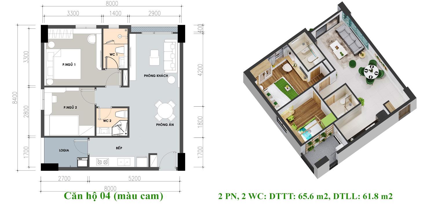 Thiết kế căn hộ Pi City Quận 12 loại 65.6 m2 - Loại 2