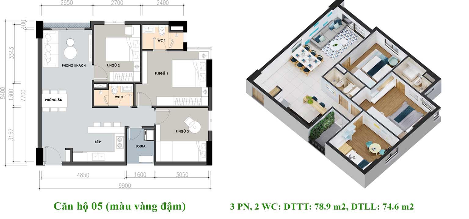 Thiết kế căn hộ Pi City Quận 12 loại 78m2