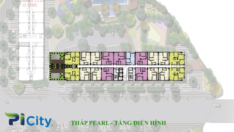 Thiết kế căn hộ Pi City Quận 12-Mặt bằng tầng tháp Pearl -C4