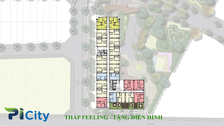 Thiết kế căn hộ Pi City Quận 12-Mặt bằng tầng tháp Feeling -C6