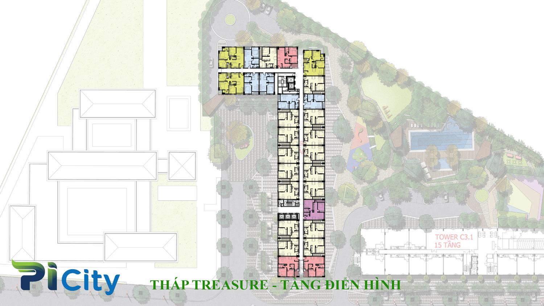Thiết kế căn hộ Pi City Quận 12-Mặt bằng tầng tháp treasure -C3