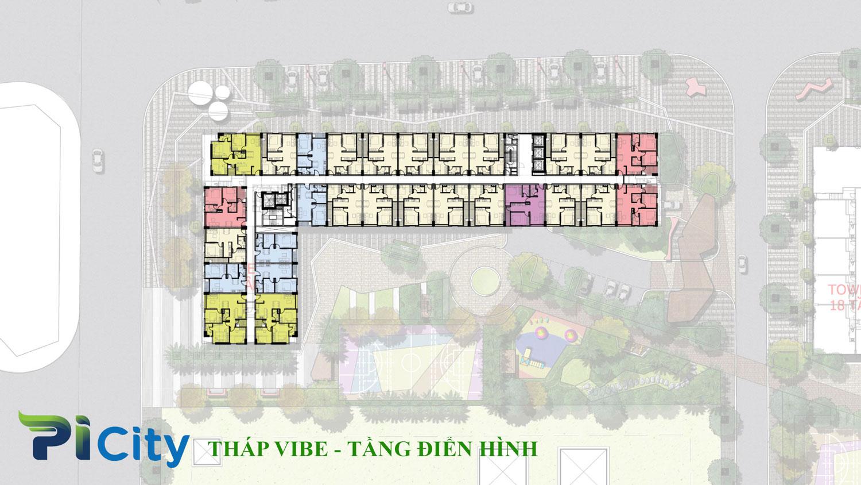 Thiết kế căn hộ Pi City Quận 12-Mặt bằng tầng tháp Viber -C1
