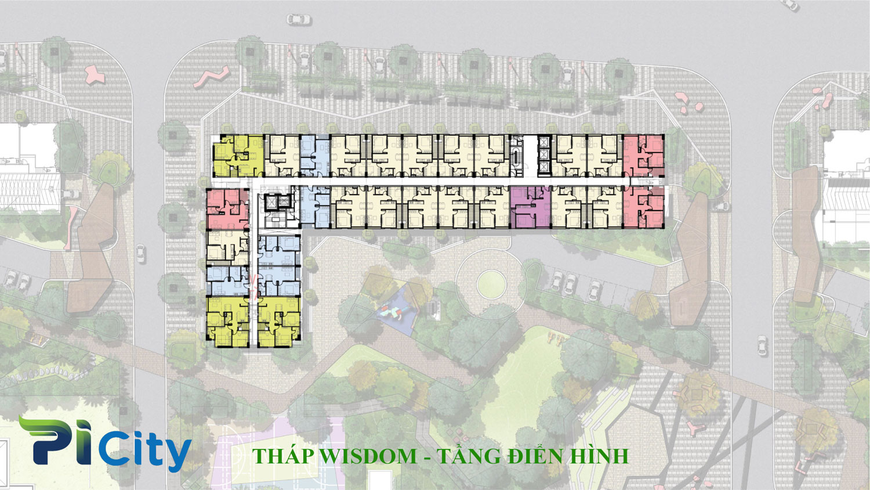 Thiết kế căn hộ Pi City Quận 12-Mặt bằng tầng tháp Wisdom -C2