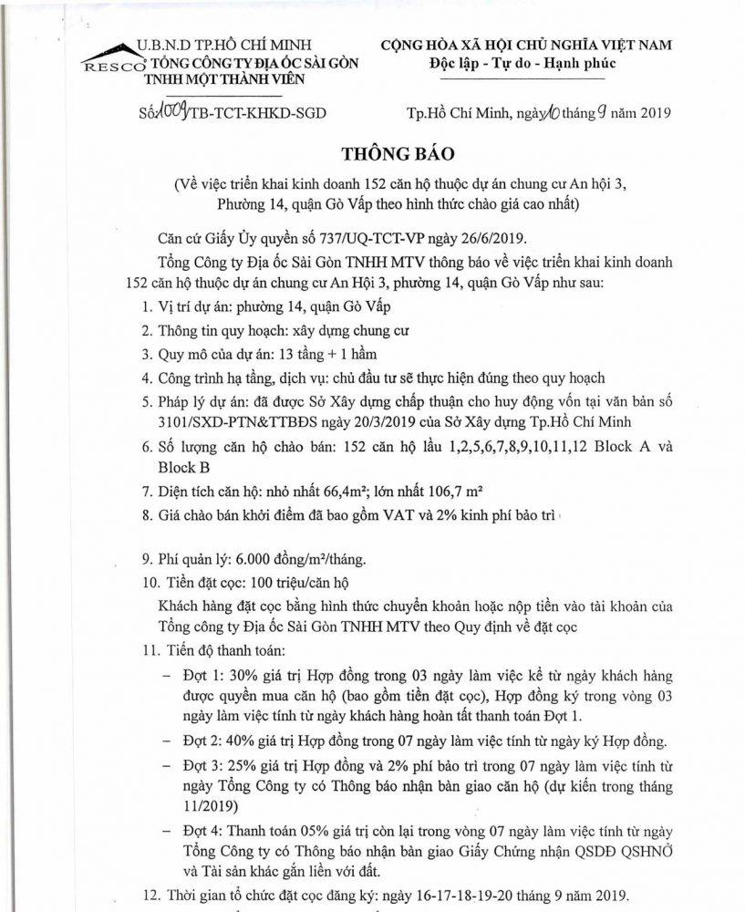 Thông báo mở bán 152 căn hộ Chung cư An Hội 3 Gò Vấp -Resco An Hội 3
