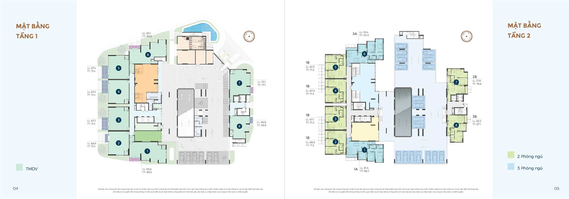 mặt bằng tầng 1 và 2 căn hộ Precia Quận 2