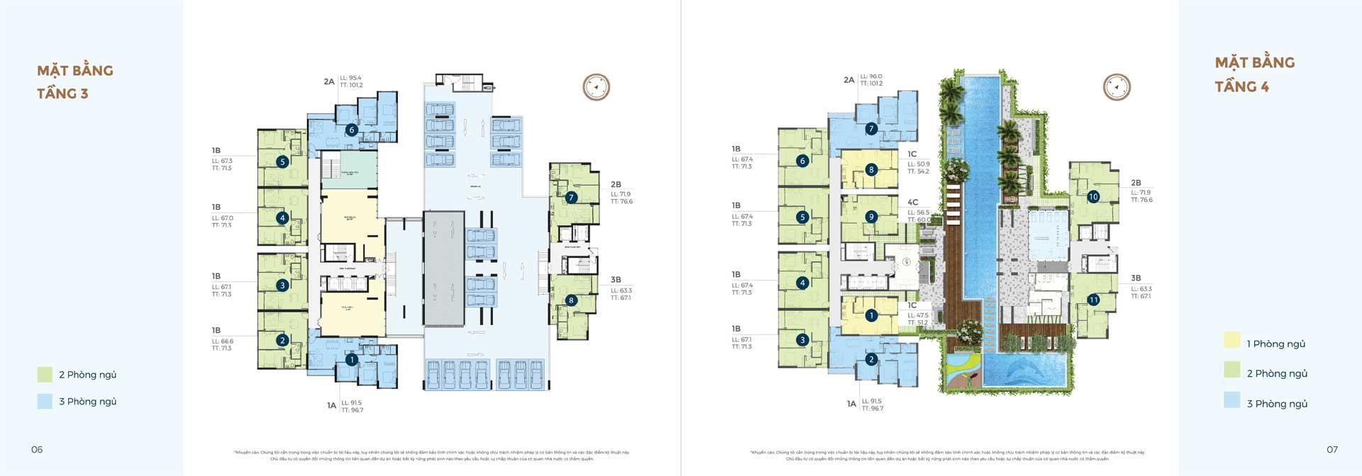 mặt bằng tầng 3 và 4 căn hộ Precia Quận 2
