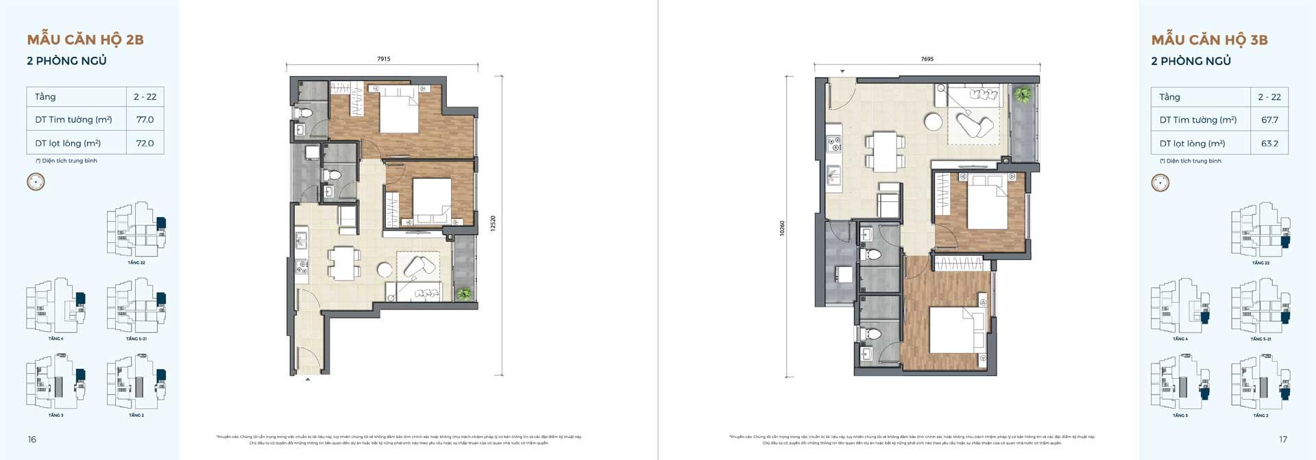 Thiết kế căn hộ loại 2 phòng ngủ 01