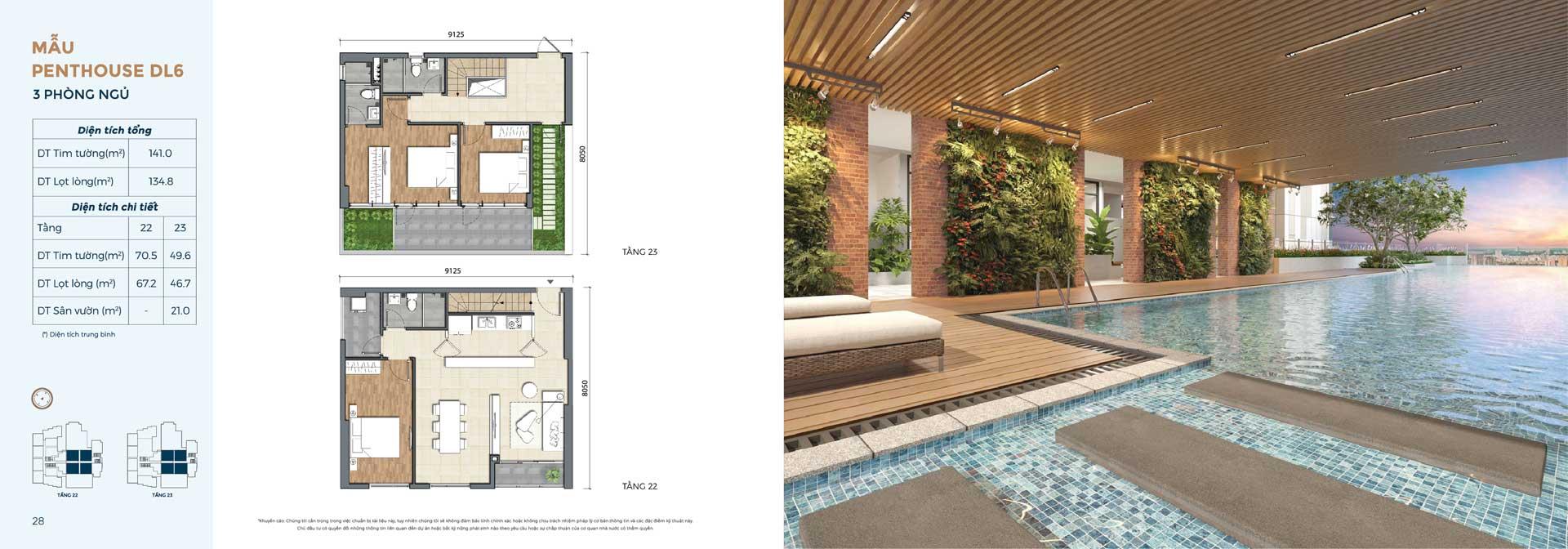 Thiết kế căn hộ Penthouse loại 3PN