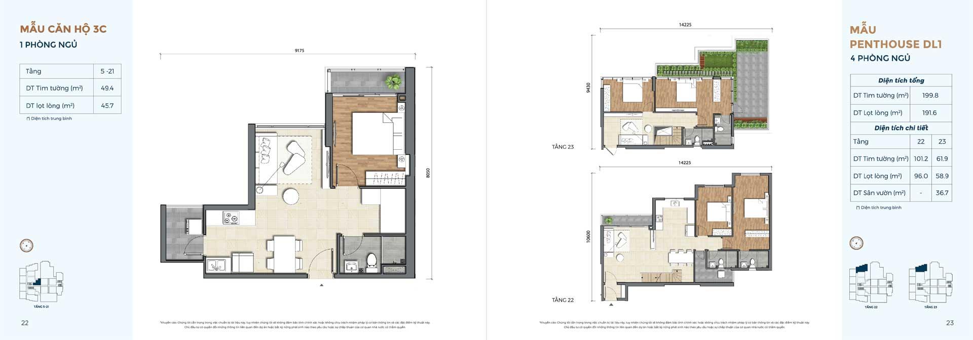 Thiết kế căn hộ 1Pn và Penthouse 4PN