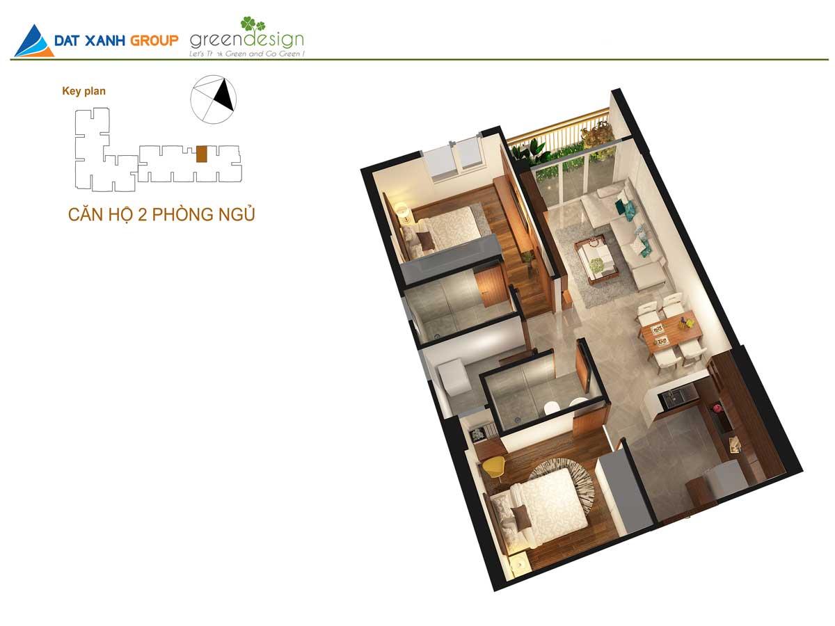 Phối cảnh 3D căn hộ Opal Skyline  2 Phòng ngủ -02
