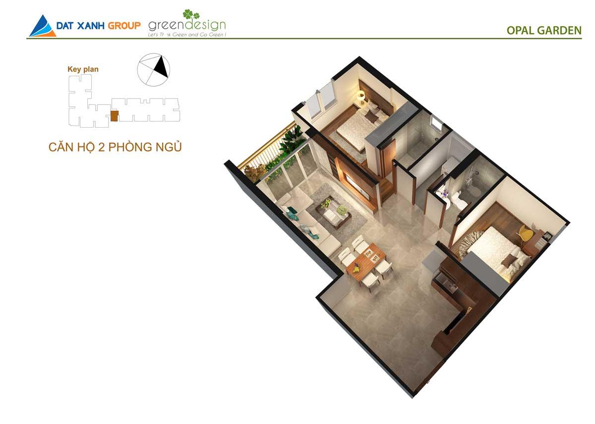 Phối cảnh 3D căn hộ Opal Skyline  2 Phòng ngủ