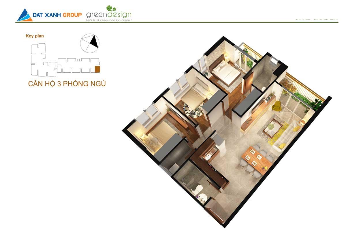 Phối cảnh 3D căn hộ Opal Skyline 3Phòng ngủ