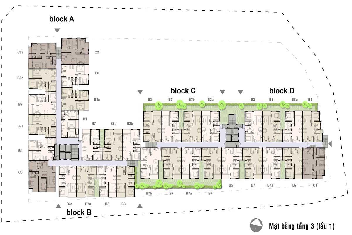 Thiết kế căn hộ Opal SKyline mặt bằng tầng điển hình