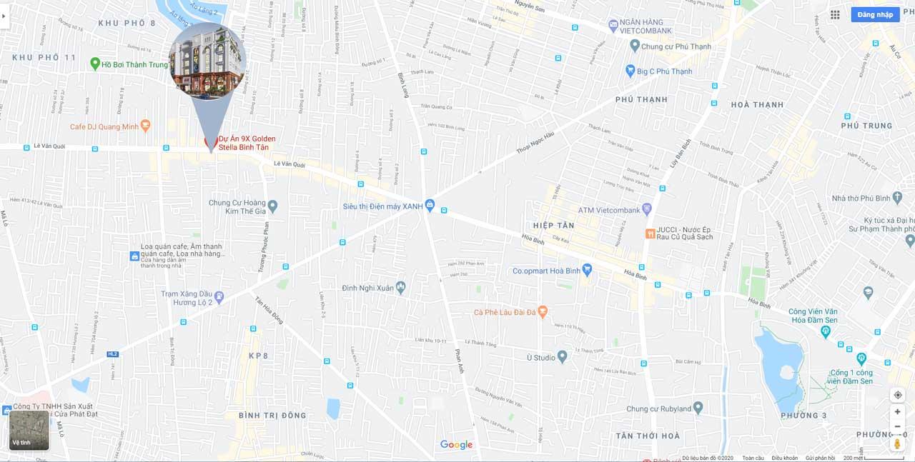 Vị trí thực tế dự án trên bản đồ google map