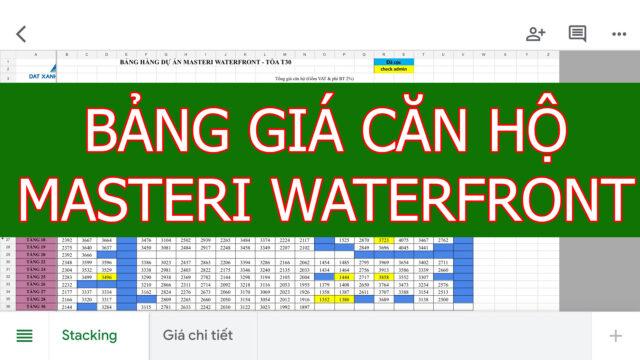 Bảng giá căn hộ Masteri WaterFront Ocean Park