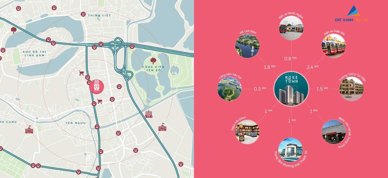 Kết nối giao thông của chung cư Rose Town Ngọc Hồi
