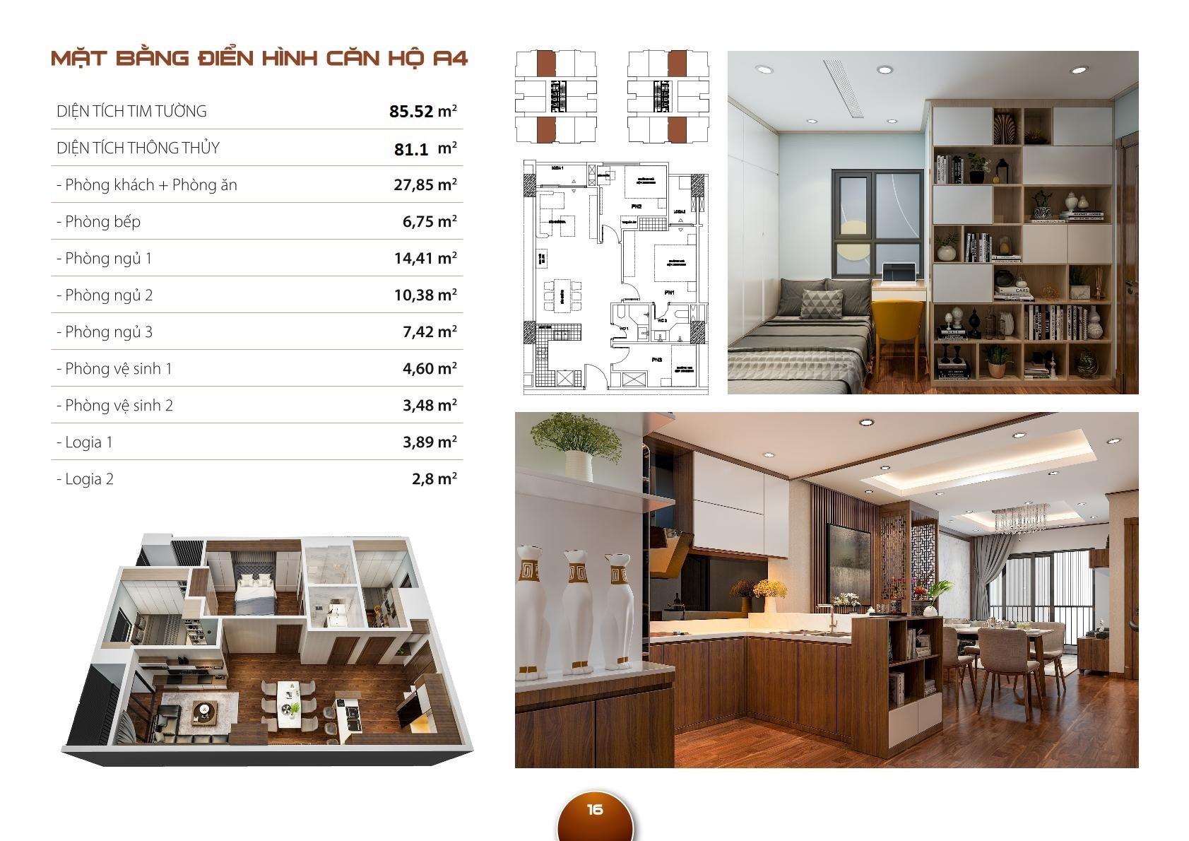 Mặt bằng căn hộ HC Golden City - Căn 81m2