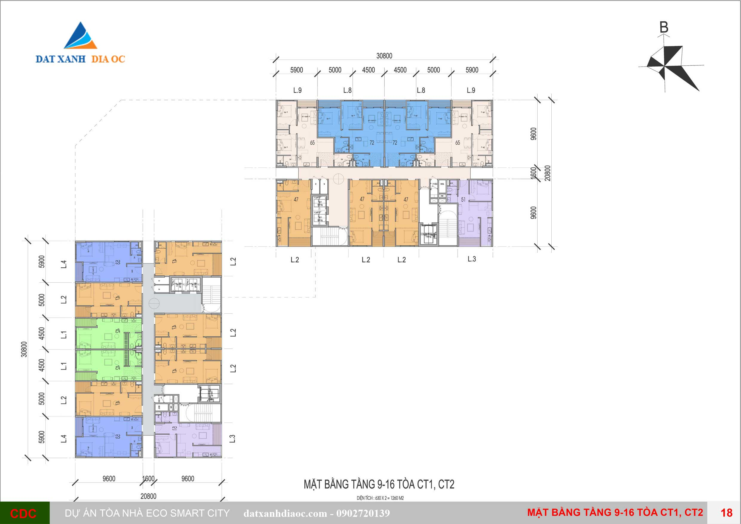 Mặt bằng tầng tòa CT1- CT2 tầng 9-16 Eco Smart City Cổ Linh