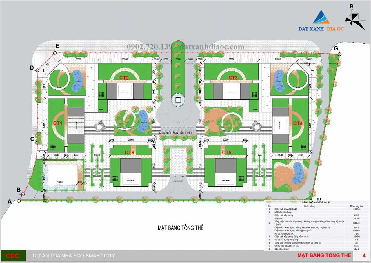 Mặt bằng tổng thể căn hộ Eco Smart City Long Biên
