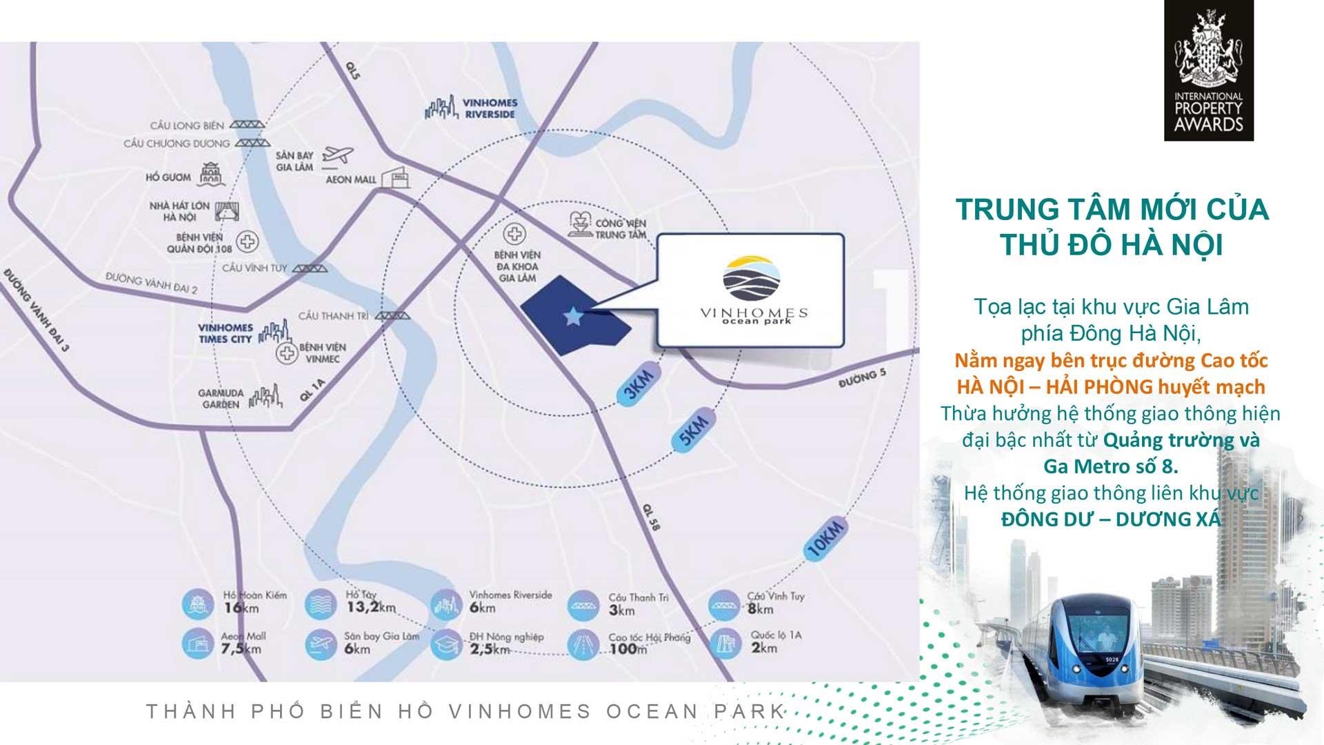 Vị trí dự án Vinhomes Ocean Park Gia Lâm