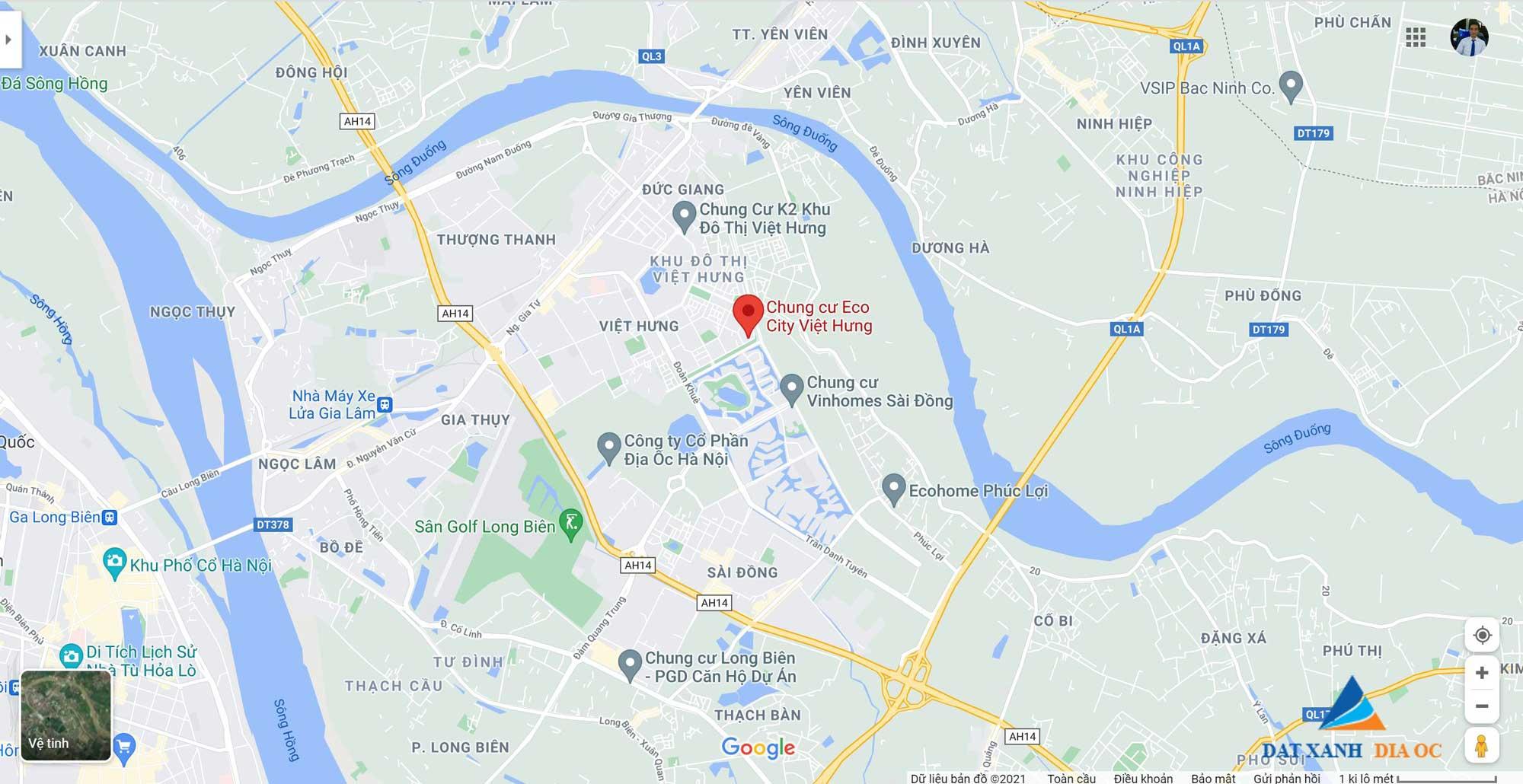 Vị trí thực tế Eco City Việt Hưng